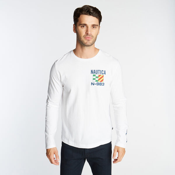 NS83 SAILBOAT GRAPHIC LONG SLEEVE T-SHIRT - Bright White