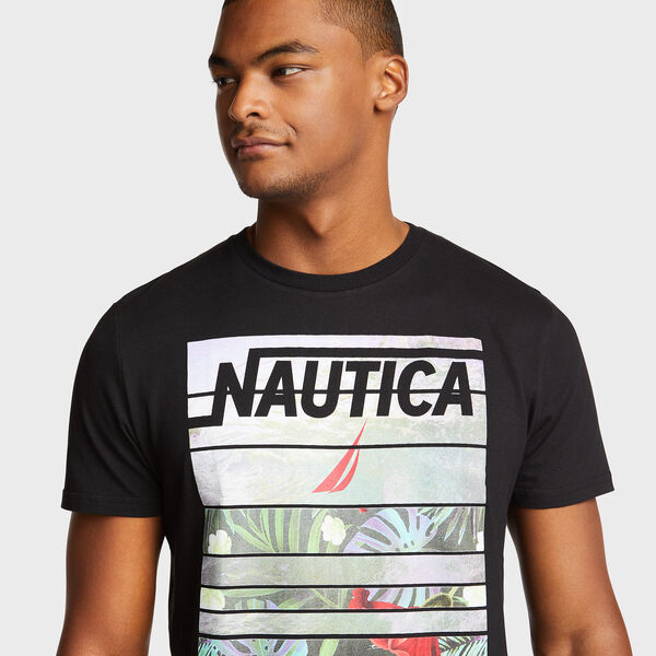 MIXED IMAGE FLORAL AND WAVE TEE - True Black