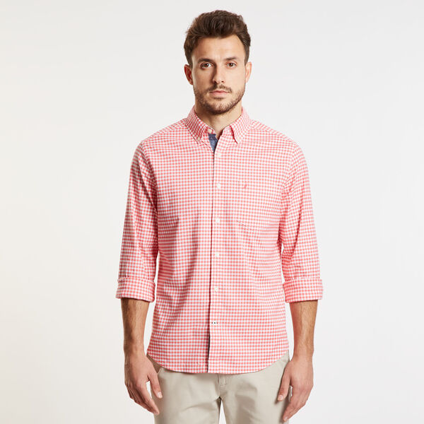 Gingham Classic Fit Oxford Long Sleeve Shirt - Spiced Coral
