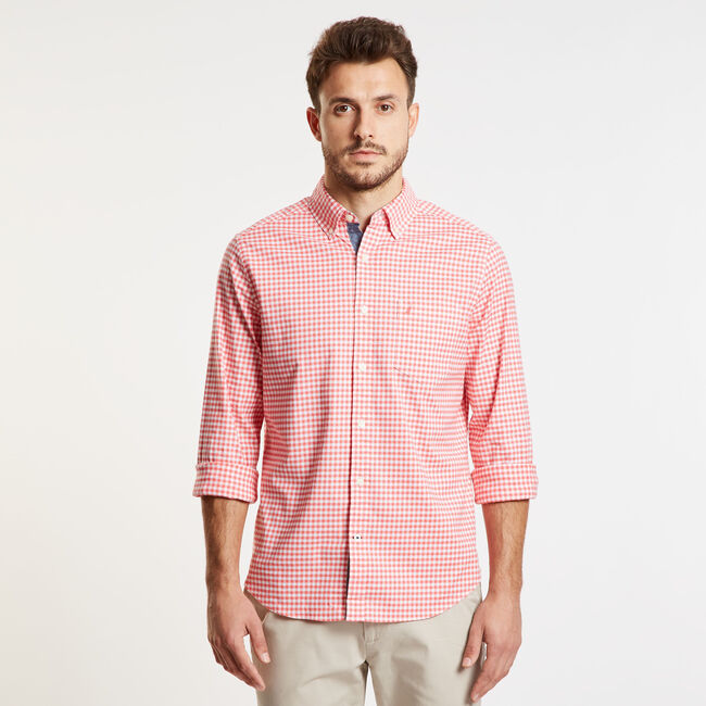 Gingham Classic Fit Oxford Long Sleeve Shirt,Spiced Coral,large