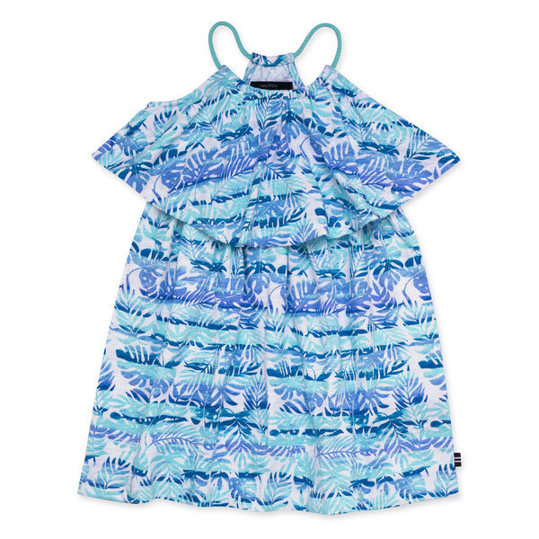 GIRLS' JERSEY DRESS IN WATERCOLOR STRIPE - Clear Sky Blue
