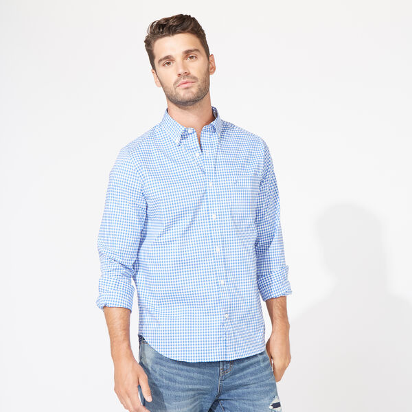 Classic Fit Poplin Shirt in Gingham - French Blue