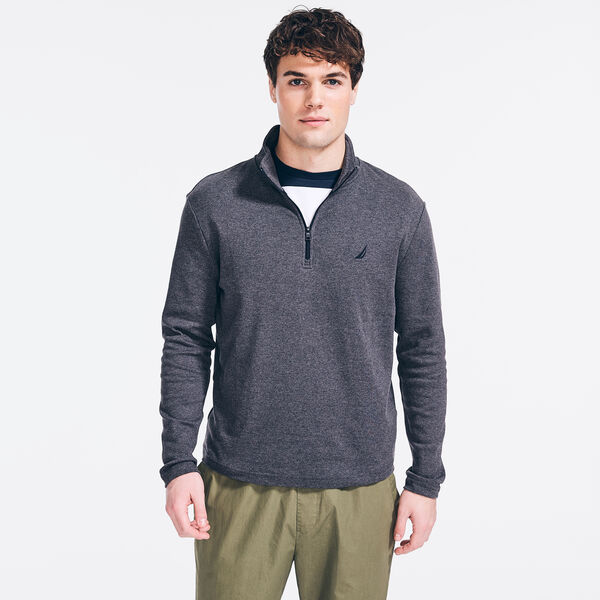 SLIM FIT PREMIUM COTTON QUARTER-ZIP - Charcoal Heather