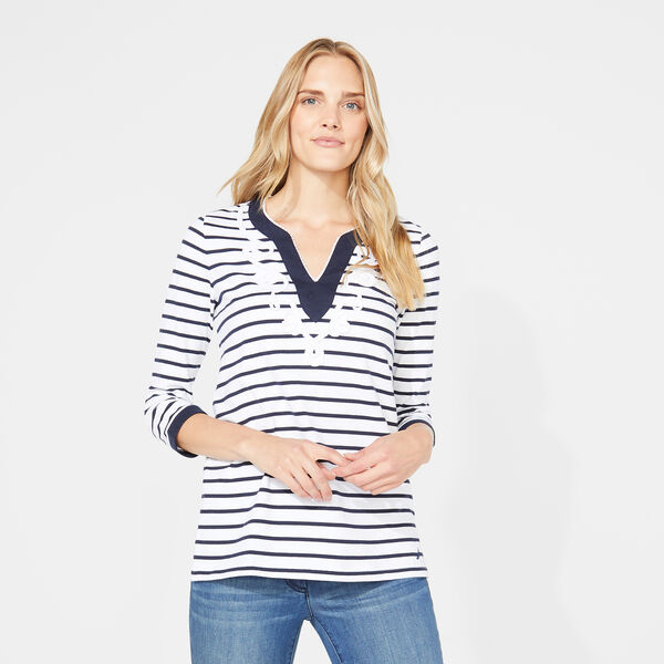 Embroidered Trim Stripe Knit Top - Bright White