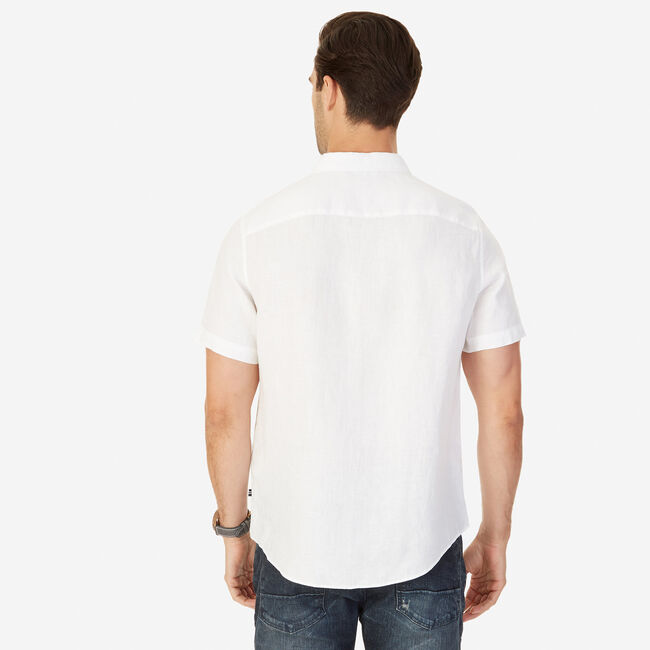 Big & Tall Linen Classic Fit Short Sleeve Shirt,Bright White,large