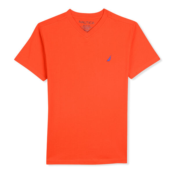 BOYS' STRAIT V-NECK T-SHIRT (8-20) - Cutty Orange