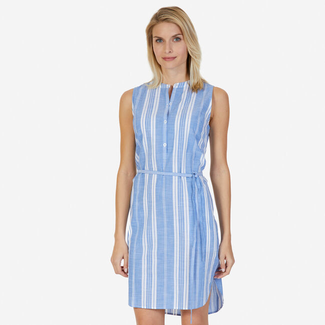 Striped Sleeveless Dress with Belt,Star Sapphire,large