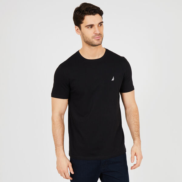 Solid Short Sleeve Crewneck T-Shirt - True Black