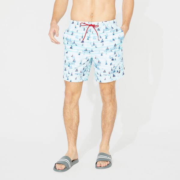 "8"" BOAT STRIPE PRINT SWIM SHORTS - Bright White"