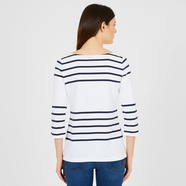 Boatneck Striped Long Sleeve Top,Bright White,large