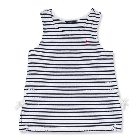 Girls' Scallop Lace Up Tank (7-16) - Navy