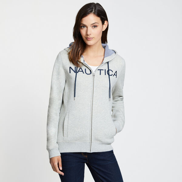 EMBROIDERED LOGO ZIP HOODIE - Grey Heather