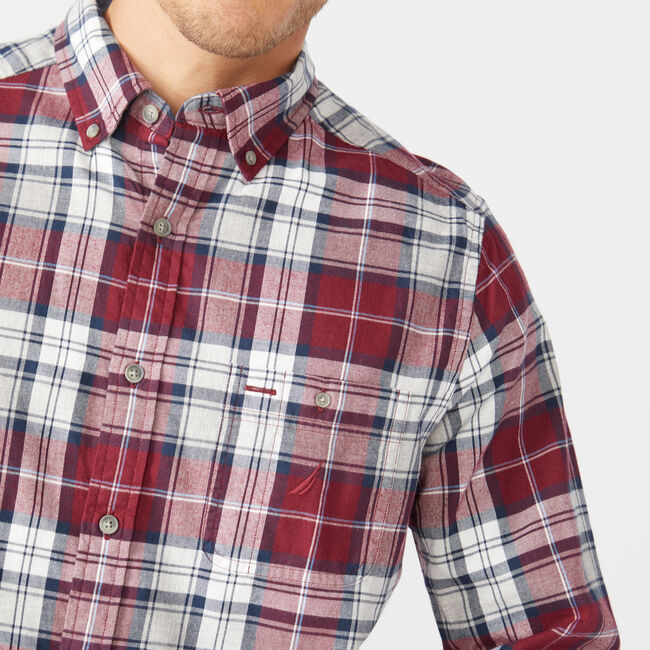 CLASSIC FIT LONG SLEEVE TWILL PLAID SHIRT,Zinfandel,large