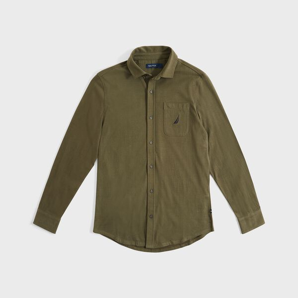 CLASSIC FIT WOVEN POCKET SHIRT - Olive