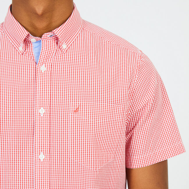 Classic Fit Gingham Plaid Short Sleeve Button Down ,Sailor Red,large
