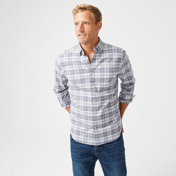 CLASSIC FIT PLAID OXFORD SHIRT - Blue Yonder Heather