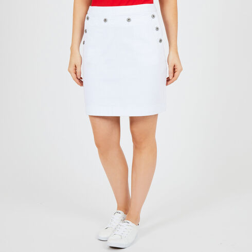 Button Front Denim Sailor Skirt - Bright White