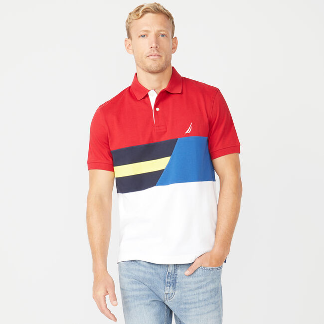 CLASSIC FIT COLORBLOCK POLO,Nautica Red,large