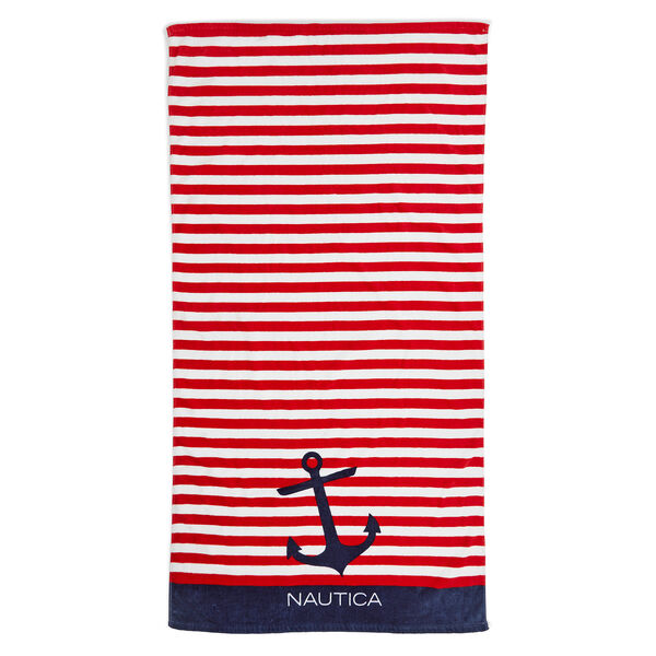 Signature Style Red Striped Beach Towel - Nautica Red