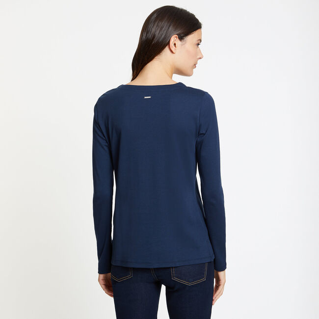Long Sleeve Lace-Up V-Neck Top,Deep Sea,large