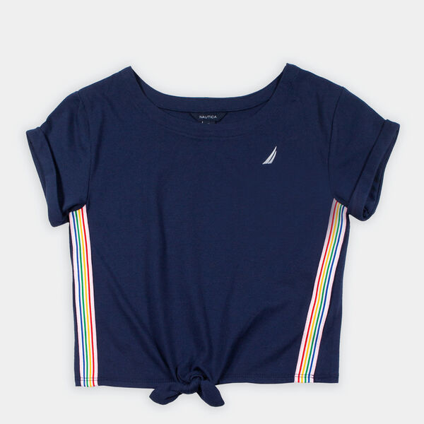 GIRLS' TIE-FRONT TOP (8-20) - Navy