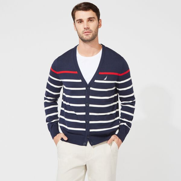 CLASSIC FIT STRIPED CARDIGAN - Navy