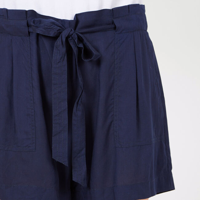 "Tie-Front Drape Easy Shorts - 5"" Inseam,Deep Sea,large"