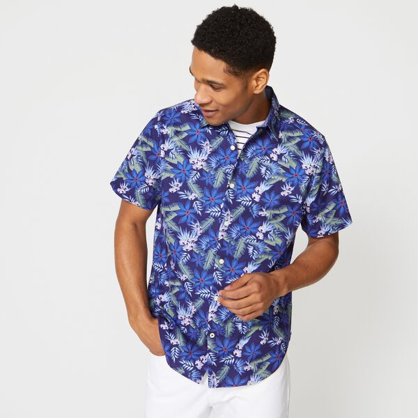 TROPICAL PRINT SHORT SLEEVE SHIRT - J Navy