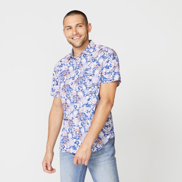 CLASSIC FIT PINEAPPLE PRINT POPLIN SHIRT - Estate Blue