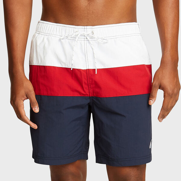 "8"" TRI-COLORBLOCK SWIM TRUNKS - Navy"