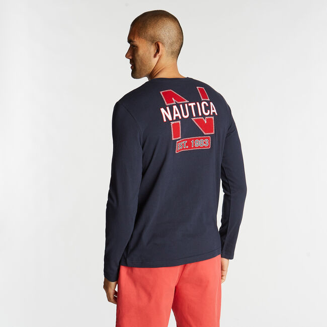 LONG SLEEVE JERSEY T-SHIRT IN NAUTICA APPLIQUÉ,Navy,large