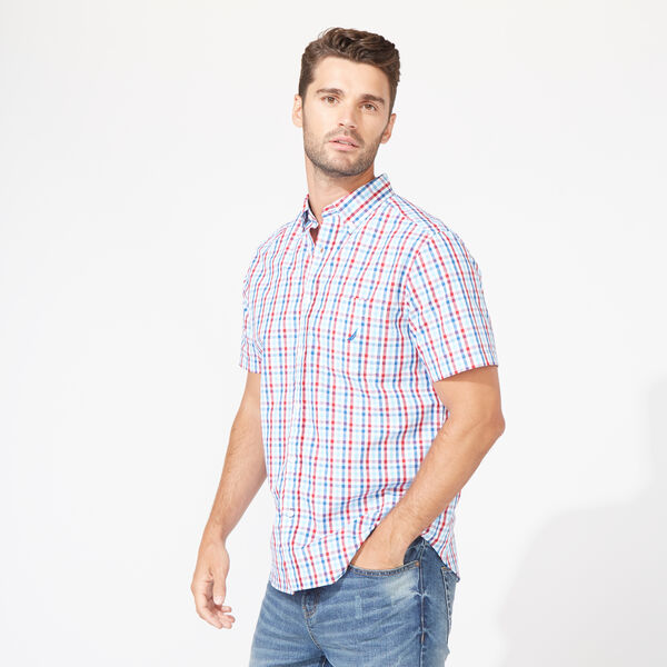 CLASSIC FIT SHORT SLEEVE SHIRT IN PLAID - Nautica Red