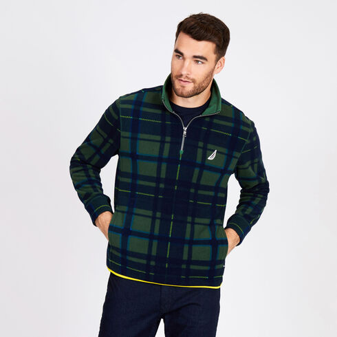 Quarter-Zip Geo Fleece Pullover - Forest