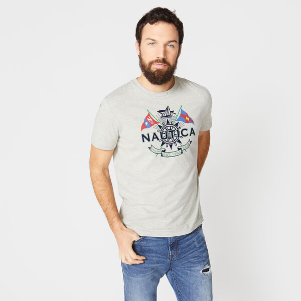 CROSSED FLAGS GRAPHIC SAILING TEE - Grey Heather