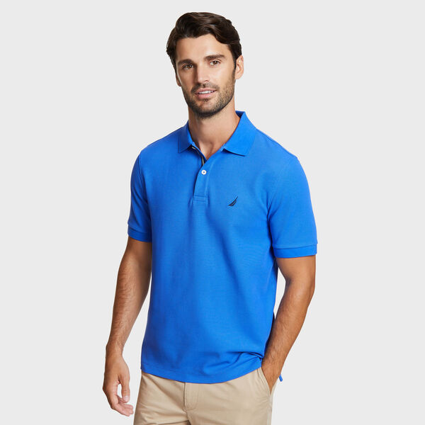 Classic Fit Solid Mesh Polo Shirt - Cobalt Wave