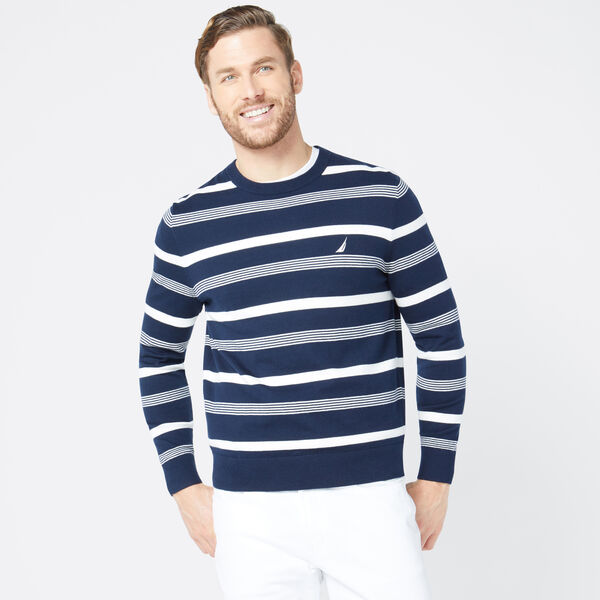 CLASSIC FIT STRIPED SWEATER - Navy