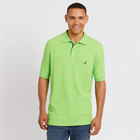 Big & Tall Short Sleeve Classic Fit Pique Deck Polo - Lime Surf