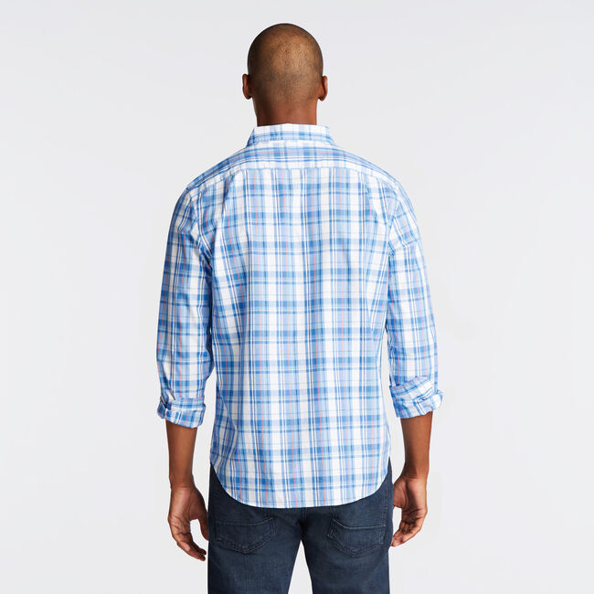 CLASSIC FIT POPLIN SHIRT IN PLAID,Clear Sky Blue,large