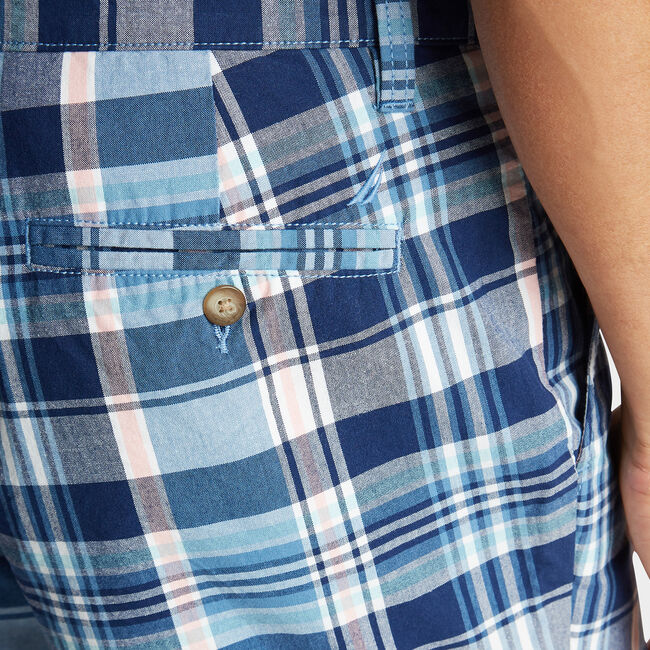 """8.5"""" CLASSIC FIT SHORT IN MADRAS PLAID,Riviera Blue,large"""