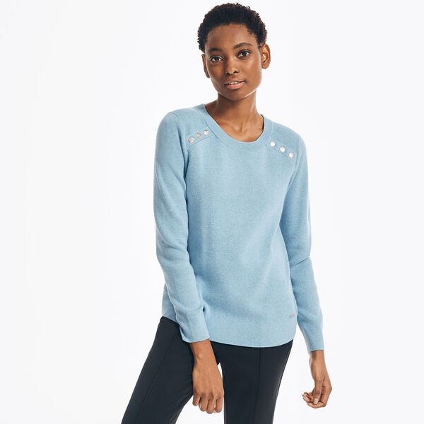 SUSTAINABLY CRAFTED RIB-KNIT SWEATER - South Beach Aqua