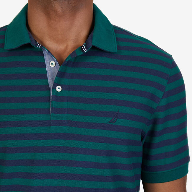 Nautica Classic Fit Striped Performance Polo Shirt,Cosmic Fern,large