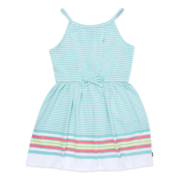 Girls' Striped Dress with Bow (7-16) - Pure Deep Bay Wash