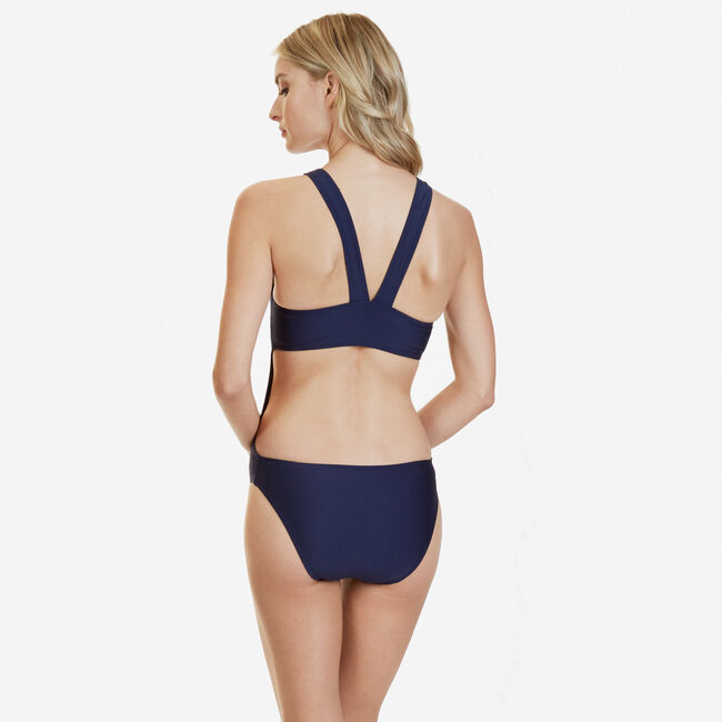 High-Neck Solid One-Piece Swimsuit,Deep Sea,large