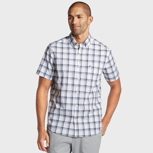 Big & Tall Plaid Wrinkle-Resistant Classic Fit Shirt - Clear Skies Blue