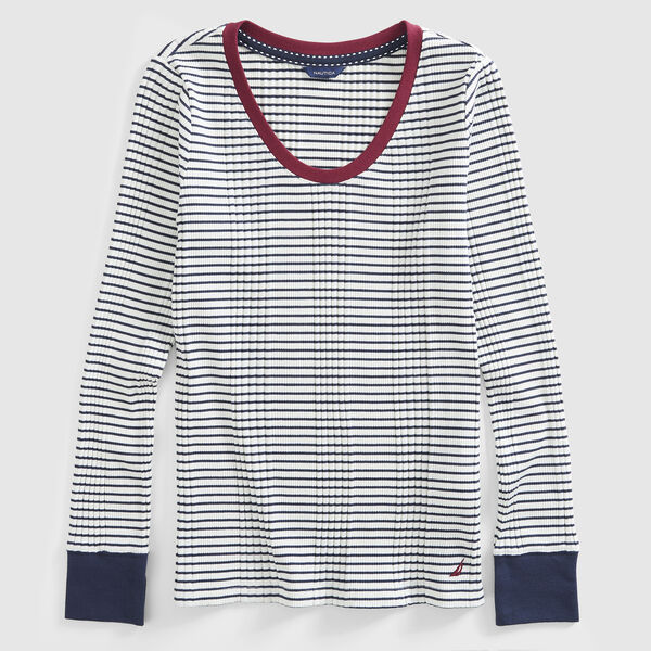 STRIPE COLORBLOCK RIB-KNIT TOP - Marshmallow