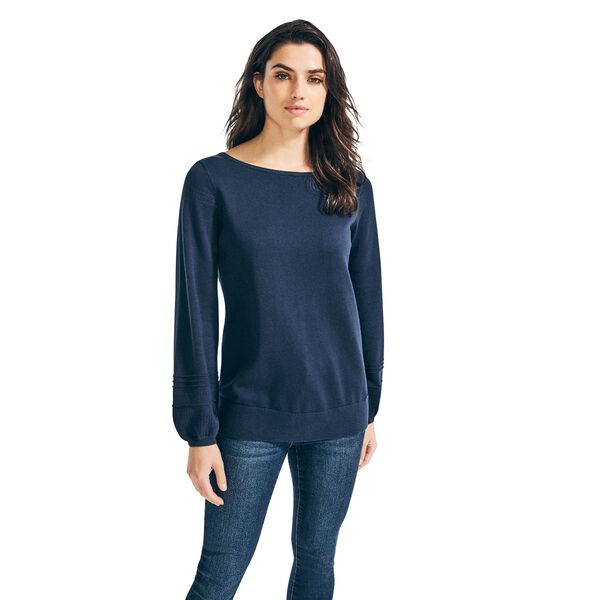 POINTELLE-KNIT BOAT NECK SWEATER - Stellar Blue Heather