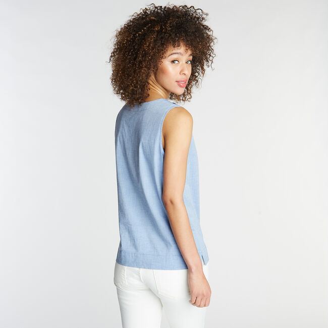 SLEEVELESS CHAMBRAY TOP,Limoges,large