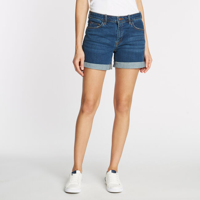 Cuff Denim Short in Beach Blue Wash,Delphinium Blue,large