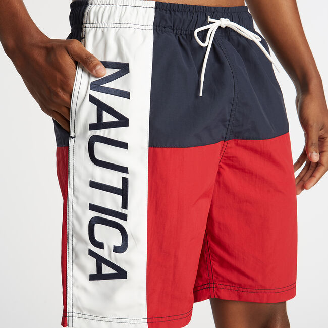 "8"" COLORBLOCK SWIM TRUNK,Nautica Red,large"