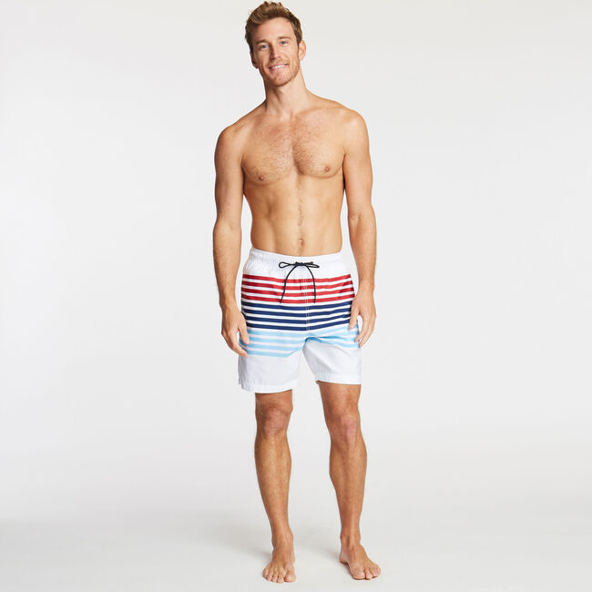 "8"" MIXED STRIPE SWIM TRUNK,Bright White,large"